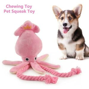 Cute Squid Dog Toy Octopus Cute BB Plush Pet Puppy Pink Chew Squeak Rope Toys