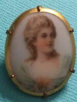 Antique Vintage Victorian Hand Painted Porcelain Portrait Brooch Pin C Clasp VGC