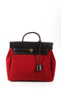 Hermes Herbag Canvas Leather Satchel Backpack Bag Red Brown