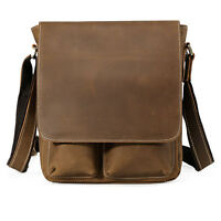 Men Genuine Leather Shoulder Messenger Crossbody Bag School Bags Small SATCHEL