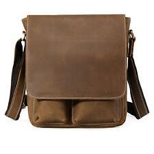 Mens Genuine Retro Leather Shoulder Messenger Crossbody Bag School Bags SATCHEL