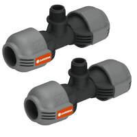 "2x GARDENA T- Stück Sprinkler-System Quick & Easy Verbindung 1/2"" -> 25mm"