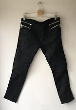 Balmain Black Coated Biker Jeans Size 33
