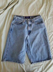 "Levi's Men's Sz 33 Silver Tab Light Blue Jean Shorts Baggy High Rise 13"" inseam"