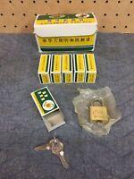 Lion Brass Padlock Lot Of 6 Small Suitcase Locks Matching Keys Partial Case Nice