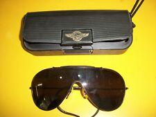 RayBan vintage wings sunglasses wraparound black frame, amber lens, black case