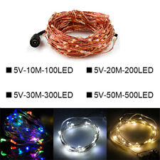 10-50M Fairy String Lights Copper Wire with DC Plug Wedding Xmas Party Decor