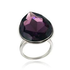 Swarovski Elements Amethyst Teardrop Fashion Ring Size 7