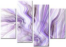 4 Panel Total Size 90x70cm ABSTRACT WALL ART PRINTS  MODERN ARTWORK TWIRL PURPLE