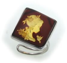 Women's Ring Real Amber Woman Bird Genuine Silver 925 Sterling Silver Girls
