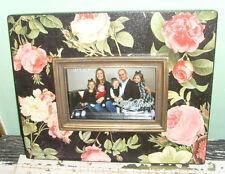 4x6 Garden Floral pink roses black picture frame photo frame holder easel back