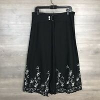 Mobaco Women's Size 5 A-Line Midi Skirt Linen Blend Embroidered Floral NEW