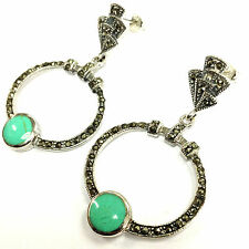 Sterling Silver 925 Art Deco Turquoise & marcasite Droplet Hoop Earrings