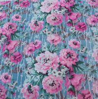 """Antique Vintage c1900-1920s Pink Floral On Blue Cotton Fabric~L-26"""" X W-34"""""""
