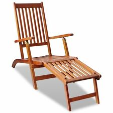 Outdoor Deck Chair with Footrest Acacia Wood Garden Patio Sun Chaise Lounger