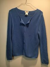Talbots Petites Women's Blue Button Front Sweater Size Medium