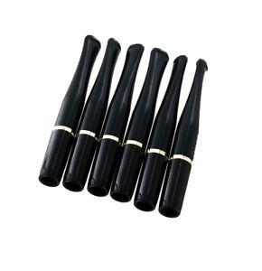6-Pack Denicotea Cigarette Holder - Black Gold Ring Standard 89mm Length
