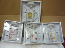 new set of 5 porcelain drinking hot/cold cup with lid and spoon girl love