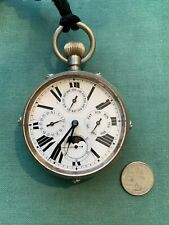 Large 70mm Moon phase Complicated Movement Cased Pocket Watch Chronograph
