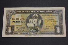 1940 SPAIN 1 PESETA SANTA MARIA BARCO BANKNOTE BONITO