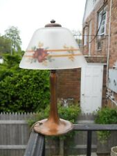 HANDEL BOUDOIR LAMP BASE WITH FLORAL BORDER REVERSE PAINTED SHADE