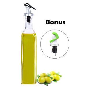 500ML Olive Oil Glass Control Dispenser Vinegar Pourer Bottle Kitchen Cooking UK