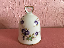 Lefton China Decorative Bell White Purple Violets Gold Trim 1984 Hand Painted