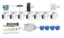 7 Doors Security Fingerprint Access Control Systems Kit & 600LBS Magnetic Lock