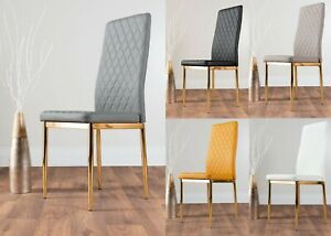 4 / 6 / 8 MILAN Gold Hatched Grey White Black Faux Leather Metal Dining Chairs