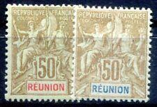 REUNION 1900 Yvert 50,51 * SPITZENWERTE 122€(F1397