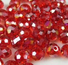 Wholesale beautiful Red+ AB 146PCS glass crystal beads 3x4mm