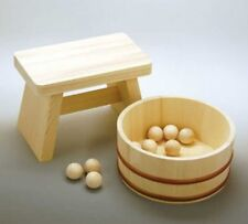 Japanese Wooden Bath Stool + Wash Bowl + Ball Set Ofuro Komachi Japan Tracking