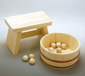 Japanese Wooden Bath Stool + Wash Bowl + Ball Set Ofuro Komachi Japan Tracking