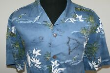 Palmwave Mens Short Sleeve Aloha Hawaiian Shirt Size XL Blue