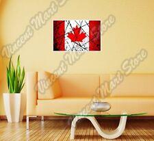 "Canada Country Flag Grunge Retro Wall Sticker Room Interior Decor 25""X20"""