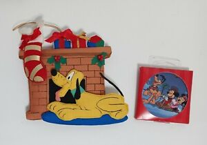 Disney 1999 Once Upon a Christmas Mickey Mouse Minnie & Pluto Fabric Ornaments