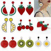 Women Lemon Cherry Fruit Vegetables Ear Stud Earrings Pendant Dangle Jewelry