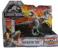 "Jurassic World Dino Rivals Velociraptor Blue Figure 9"" Battle Damaged New in Box"