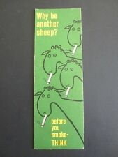 BOOKMARK Anti Smoking Campaign Why Be Another Sheep Ministry of Health 1964