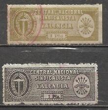 447c- VALENCIA FALANGE ESPAÑOLA Y DE LAS JONS.2 SELLOS 1 PESETA DIFERENTES.CNS.R