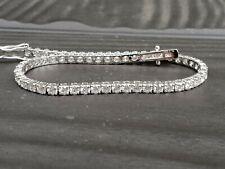 4 Carat Exeptional White Natural Round Diamond Tennis Bracelet 18k White Gold