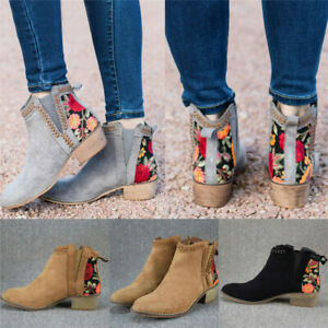 Womens Block Low Heel Ankle Boots Flower Printed Pointy Toe Slip On Bootie Shoes