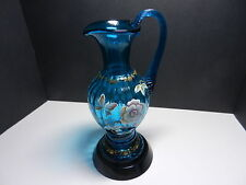 Fenton Art Glass Ewer New Century Collection Florals by S Williams Blue w Stand