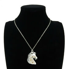 Silver Alloy Animal Horse Head Pendant Short Chain Collar Chunky Necklace 18""