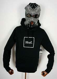 Huf Worldwide Skateboard Sweatshirt Hooded Pullover Hoodie Box Logo Black in S