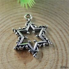 20pcs Vintage Silver Alloy Creative Hollow Stars Pendants Charms Findings 50828