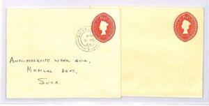 BP32 1965 FIJI STATIONERY Unused + Used REGISTERED Letters {2}