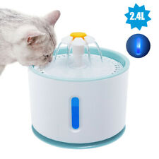 Cat Water Fountain 2.4L Pet Dog Electric Automatic Drinking Dispenser Filter LED