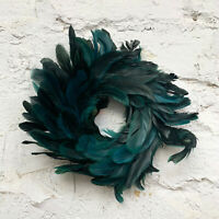 Faux Peacock Petrol Green Feather Wreath Christmas Wall Door Hanging Decoration