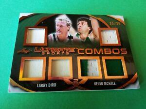 LARRY BIRD & KEVIN MCHALE GAME USED JERSEY PATCH CARD #25/25 LEAF BOSTON CELTICS